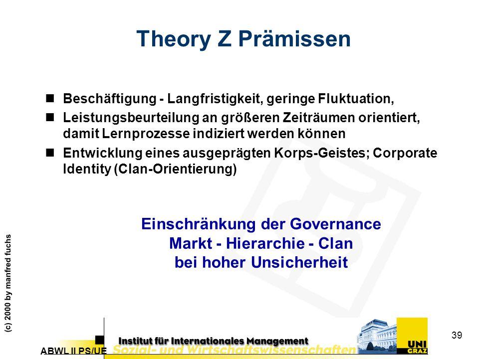 Theory Z Prämissen Einschränkung der Governance