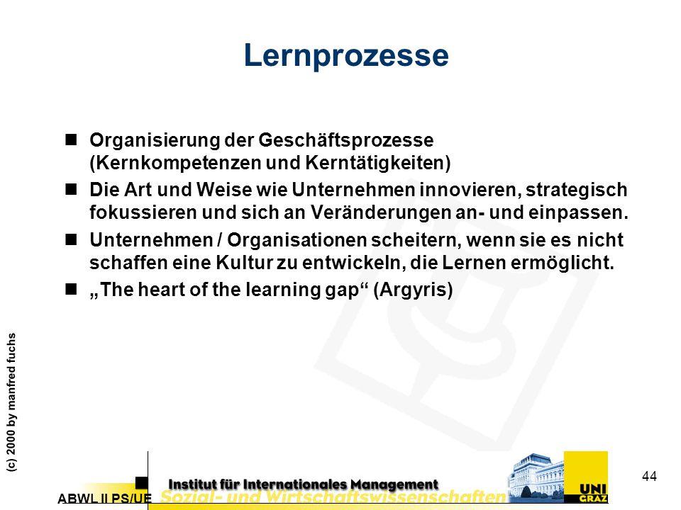 Lernprozesse Organisierung der Geschäftsprozesse (Kernkompetenzen und Kerntätigkeiten)