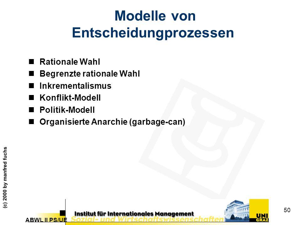 Modelle von Entscheidungprozessen