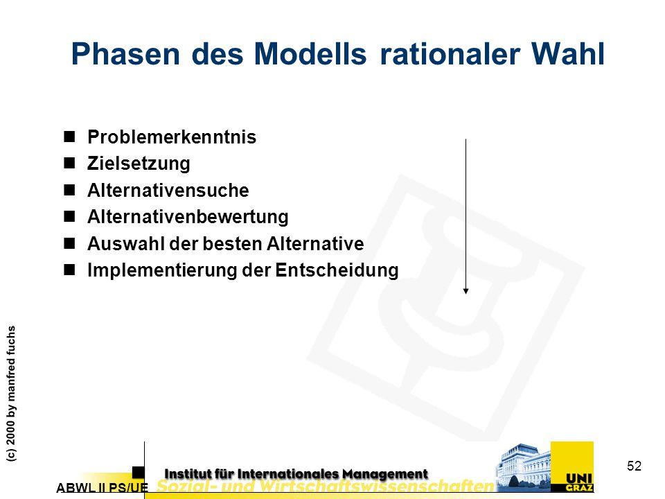 Phasen des Modells rationaler Wahl