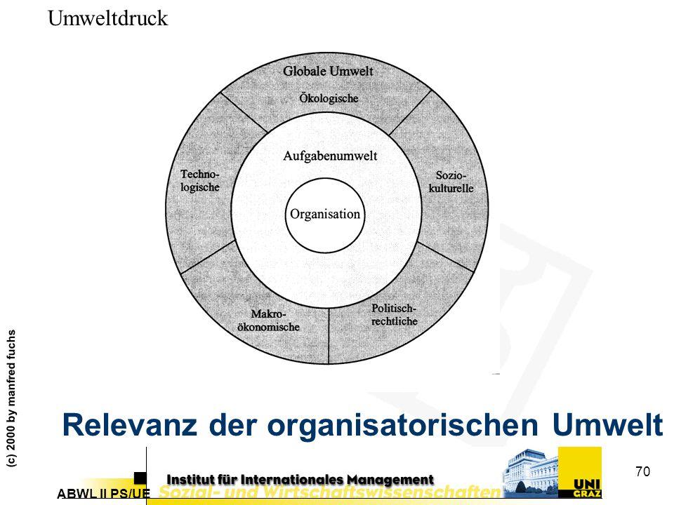 Relevanz der organisatorischen Umwelt