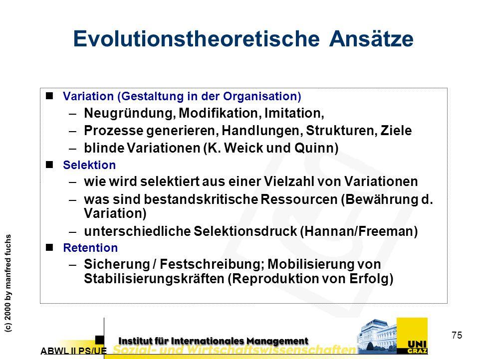 Evolutionstheoretische Ansätze