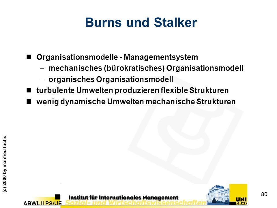 Burns und Stalker Organisationsmodelle - Managementsystem