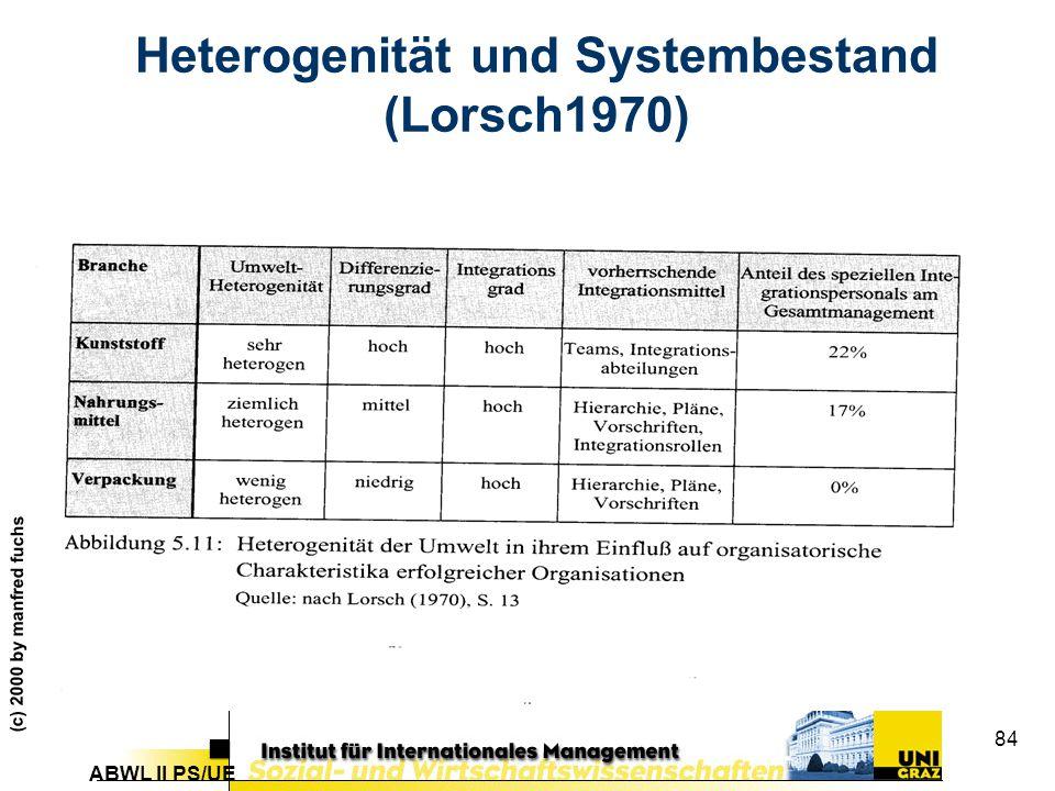 Heterogenität und Systembestand (Lorsch1970)
