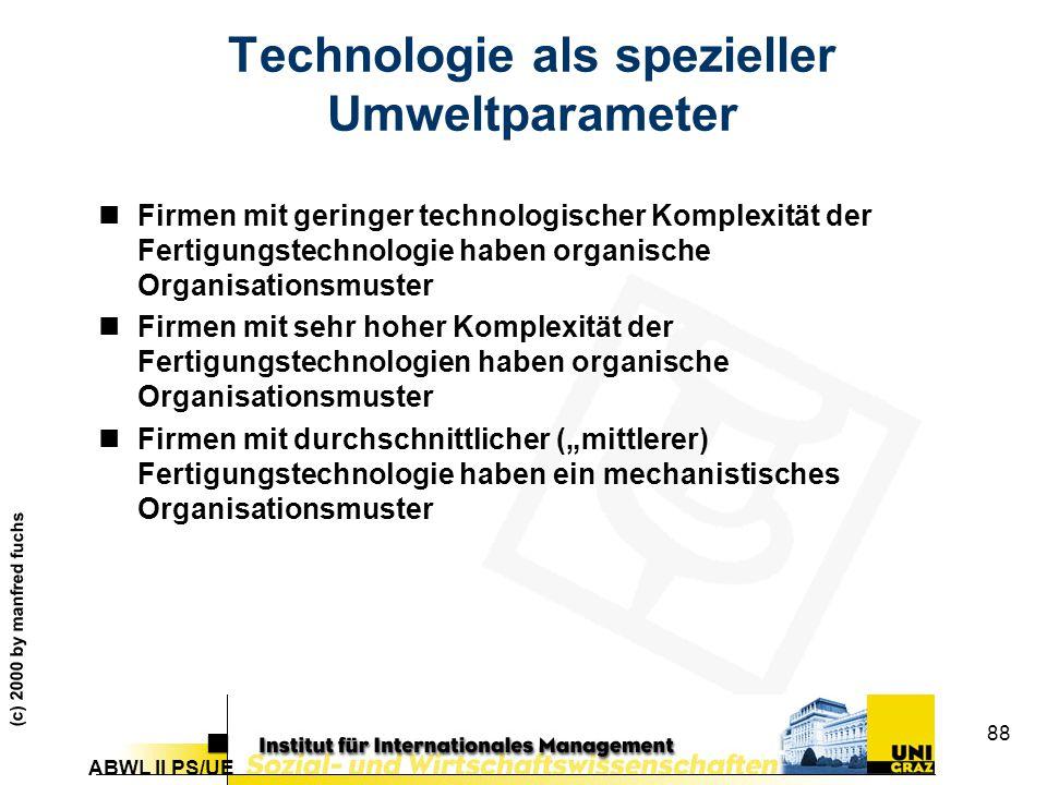 Technologie als spezieller Umweltparameter