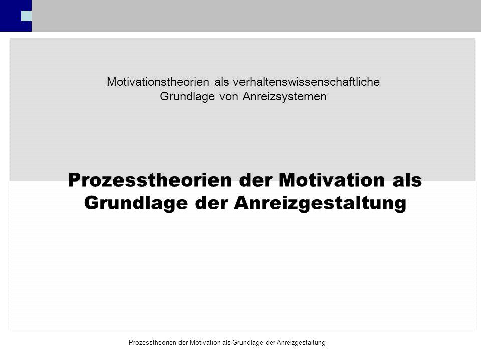 Prozesstheorien der Motivation als Grundlage der Anreizgestaltung