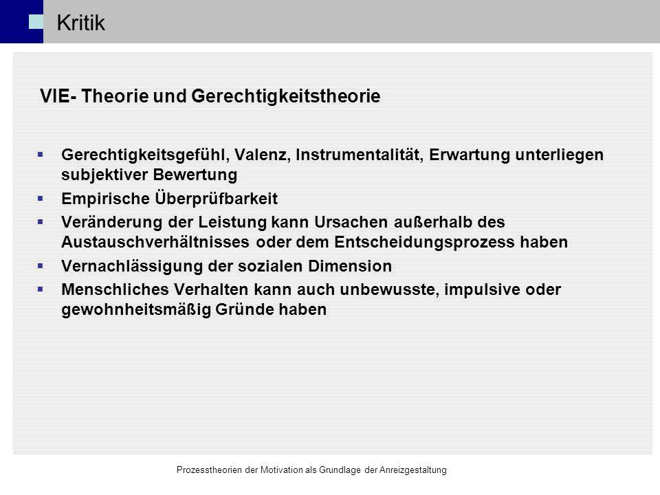 Kritik VIE- Theorie und Gerechtigkeitstheorie