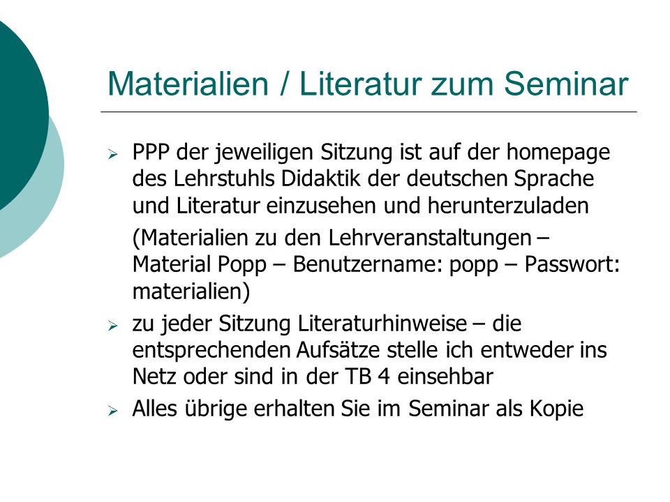 Materialien / Literatur zum Seminar