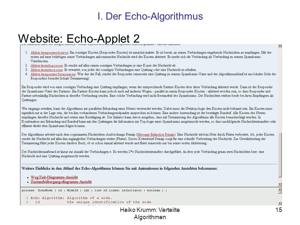 Website: Echo-Applet 2 I. Der Echo-Algorithmus