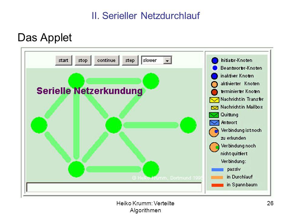 Das Applet II. Serieller Netzdurchlauf