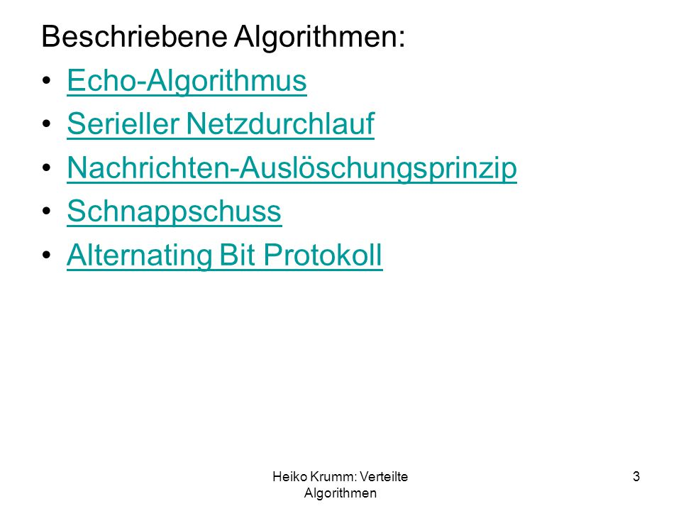 Heiko Krumm: Verteilte Algorithmen