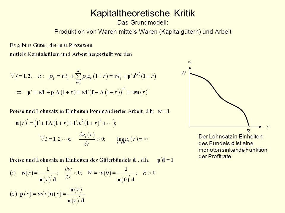 Kapitaltheoretische Kritik Das Grundmodell: Produktion von Waren mittels Waren (Kapitalgütern) und Arbeit