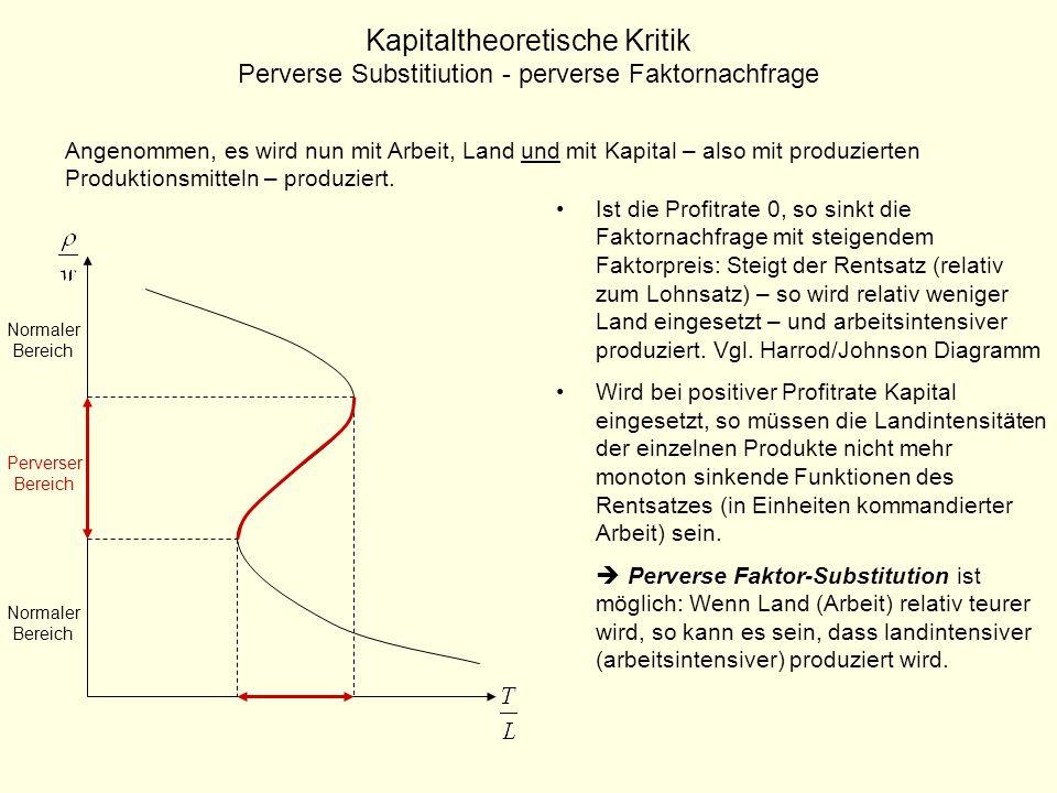 Kapitaltheoretische Kritik Perverse Substitiution - perverse Faktornachfrage