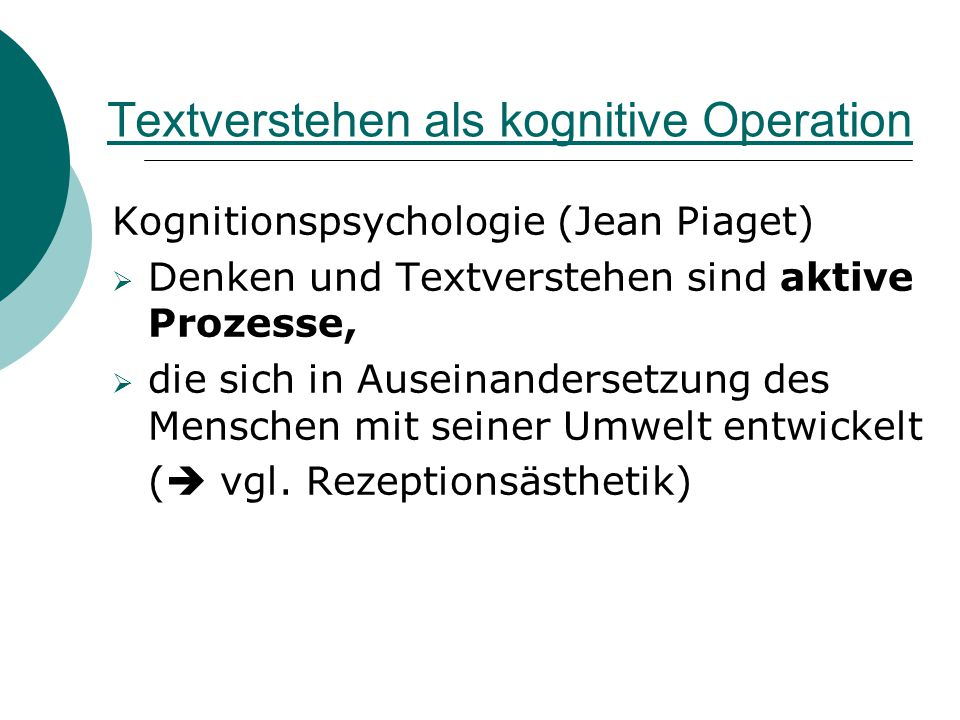 Textverstehen als kognitive Operation