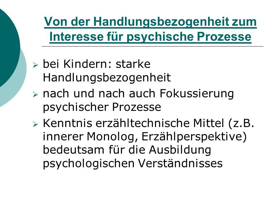 Von der Handlungsbezogenheit zum Interesse für psychische Prozesse