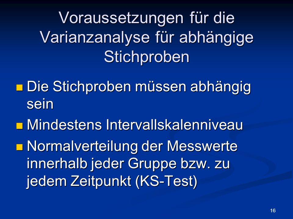 Voraussetzungen für die Varianzanalyse für abhängige Stichproben
