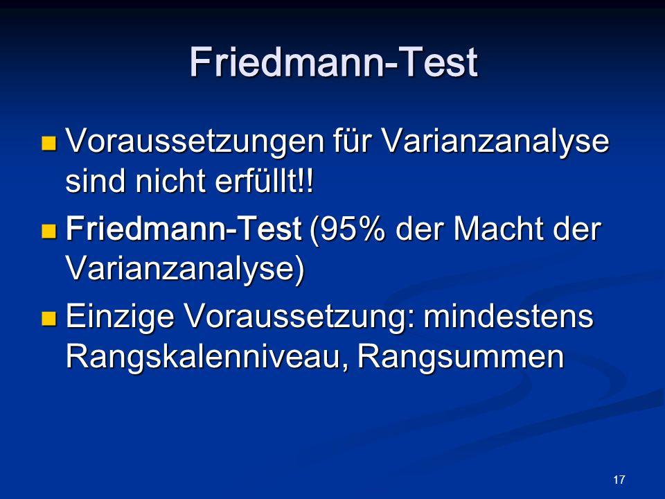 Friedmann-Test Voraussetzungen für Varianzanalyse sind nicht erfüllt!!