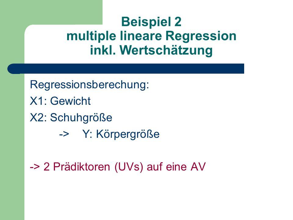 Beispiel 2 multiple lineare Regression inkl. Wertschätzung