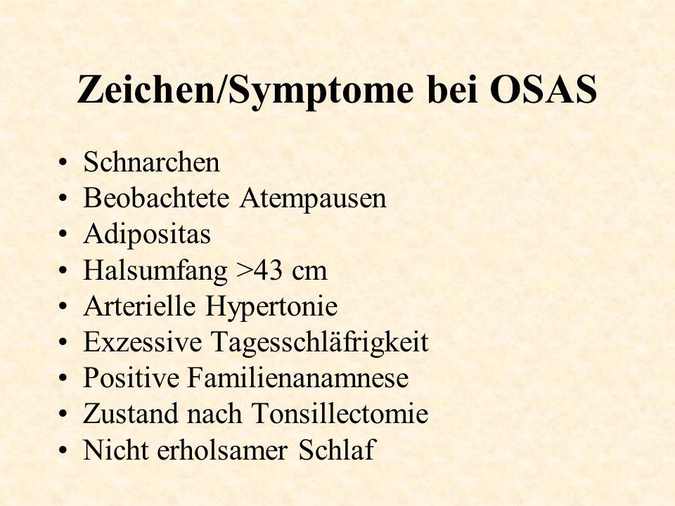 Zeichen/Symptome bei OSAS