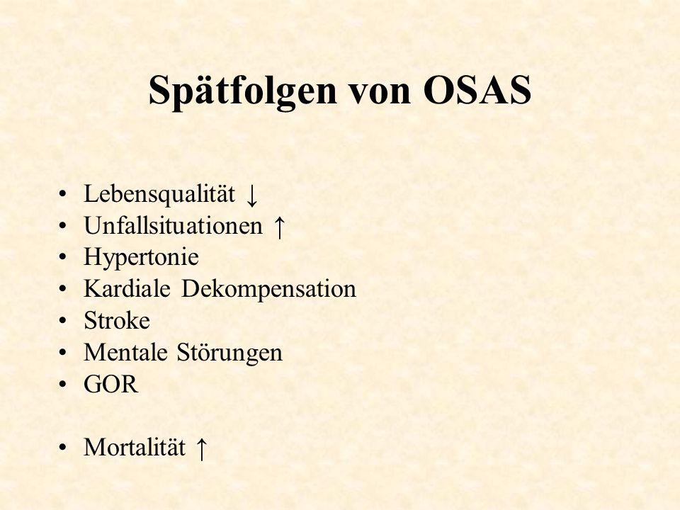 Spätfolgen von OSAS Lebensqualität ↓ Unfallsituationen ↑ Hypertonie