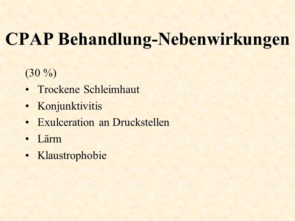 CPAP Behandlung-Nebenwirkungen