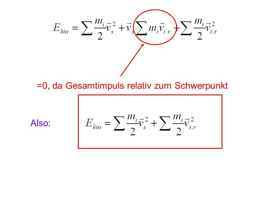 =0, da Gesamtimpuls relativ zum Schwerpunkt