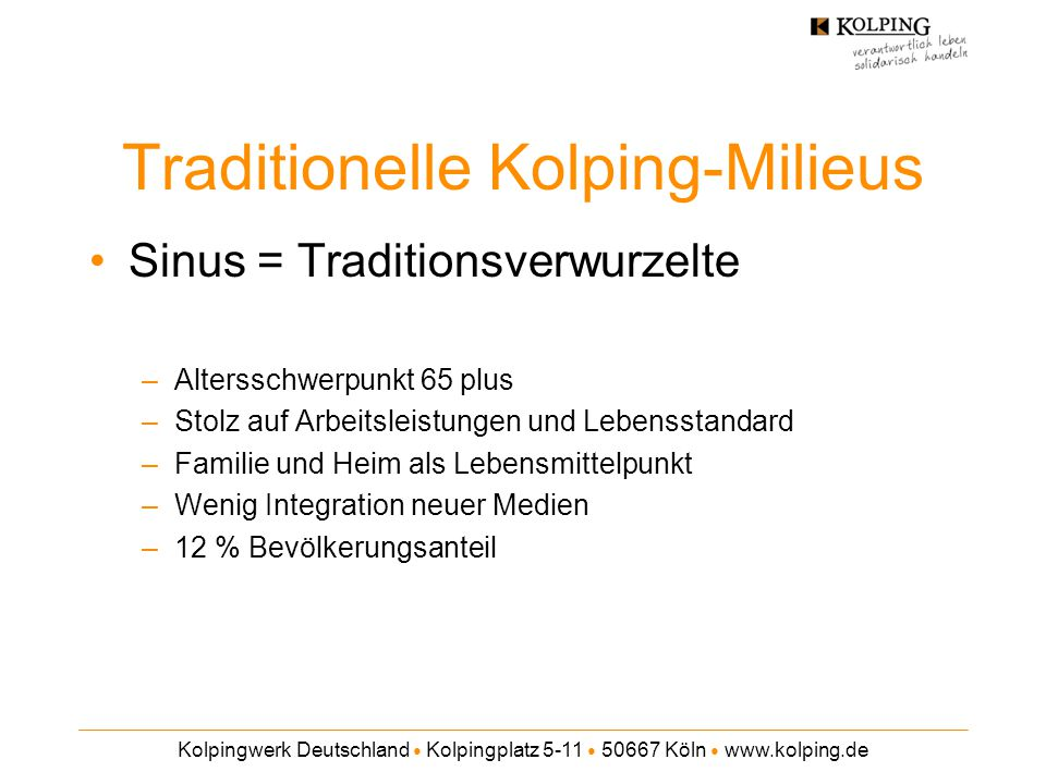 Traditionelle Kolping-Milieus