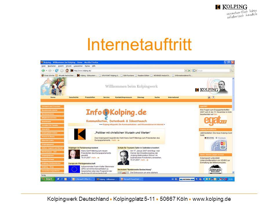 Internetauftritt Kolpingwerk Deutschland ● Kolpingplatz 5-11 ● 50667 Köln ● www.kolping.de