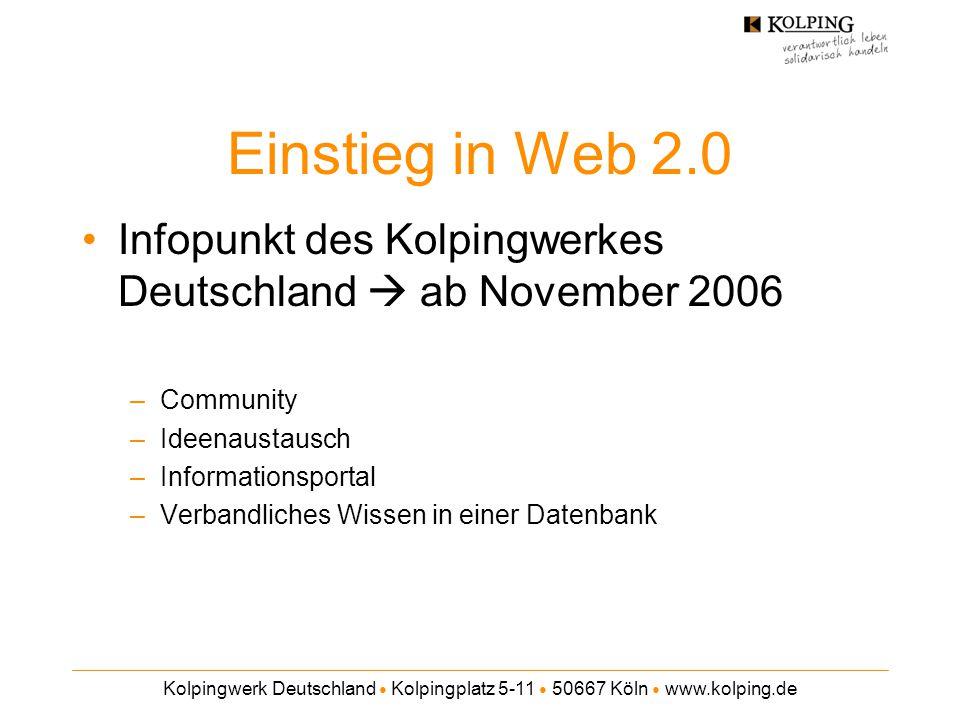 Einstieg in Web 2.0 Infopunkt des Kolpingwerkes Deutschland  ab November 2006. Community. Ideenaustausch.