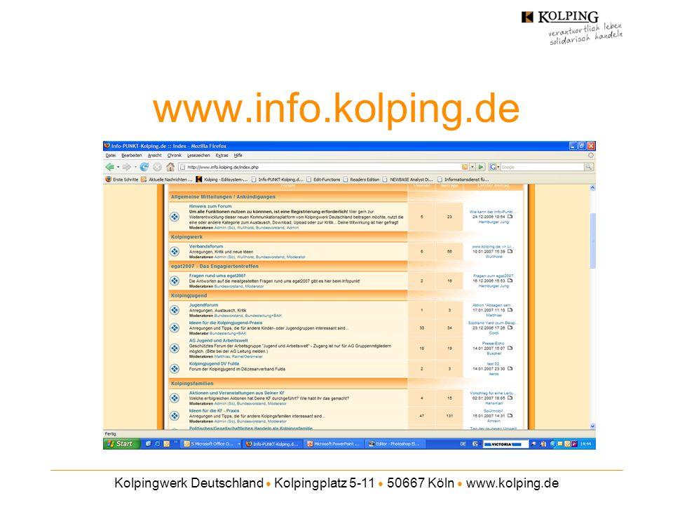 www.info.kolping.de Kolpingwerk Deutschland ● Kolpingplatz 5-11 ● 50667 Köln ● www.kolping.de