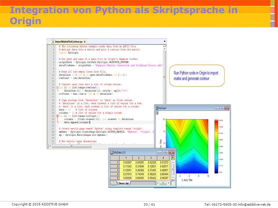 Integration von Python als Skriptsprache in Origin