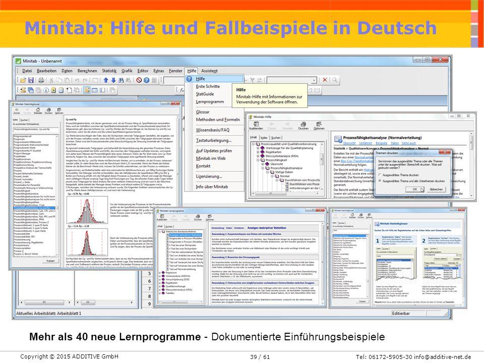 Minitab: Hilfe und Fallbeispiele in Deutsch