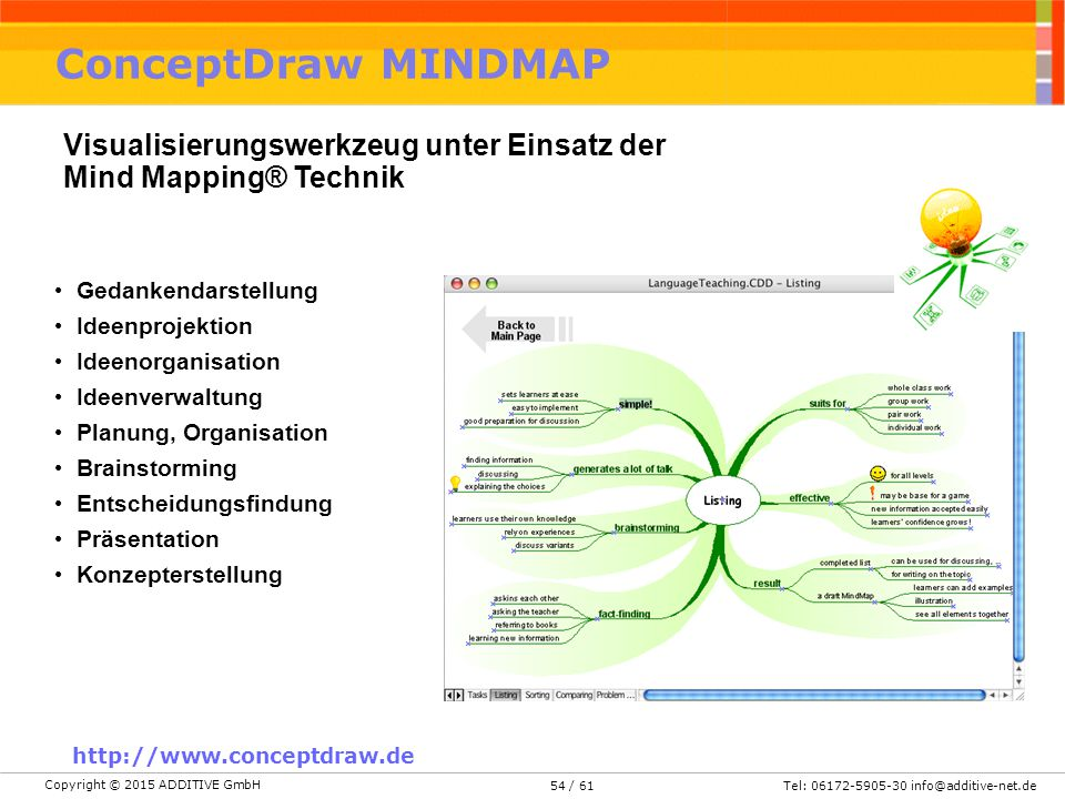 ConceptDraw MINDMAP Visualisierungswerkzeug unter Einsatz der Mind Mapping® Technik. Gedankendarstellung.