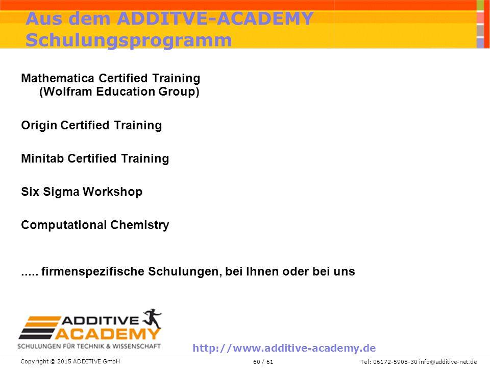 Aus dem ADDITVE-ACADEMY Schulungsprogramm