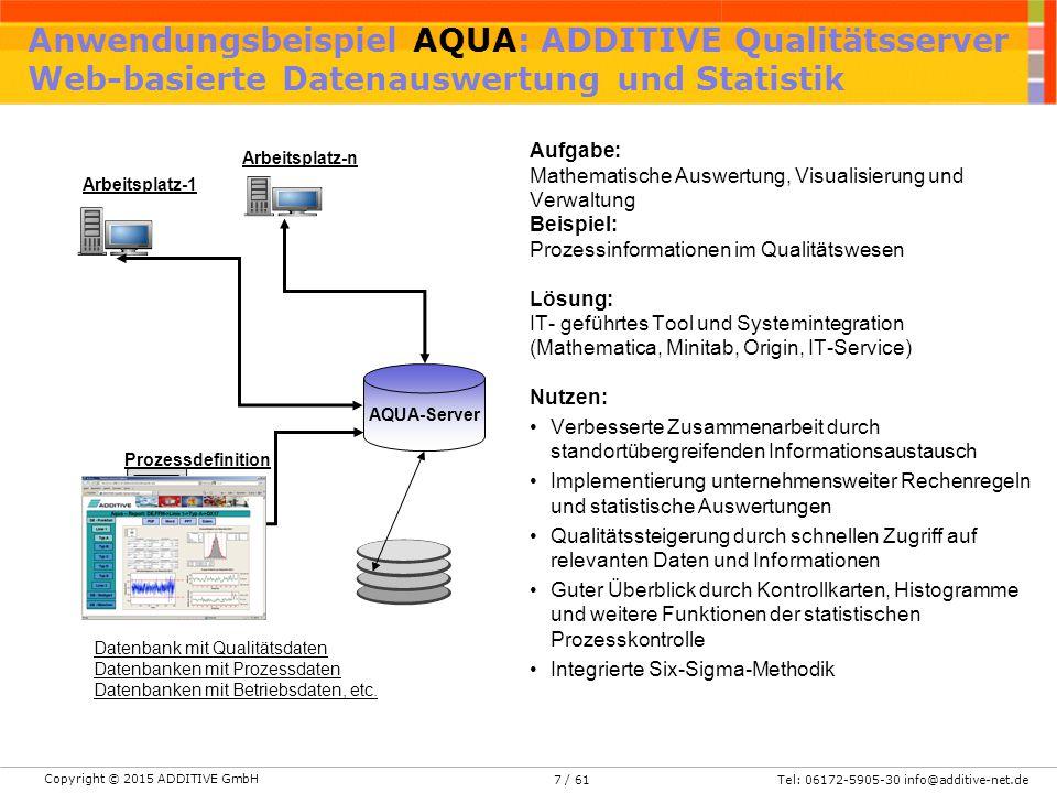 Anwendungsbeispiel AQUA: ADDITIVE Qualitätsserver Web-basierte Datenauswertung und Statistik