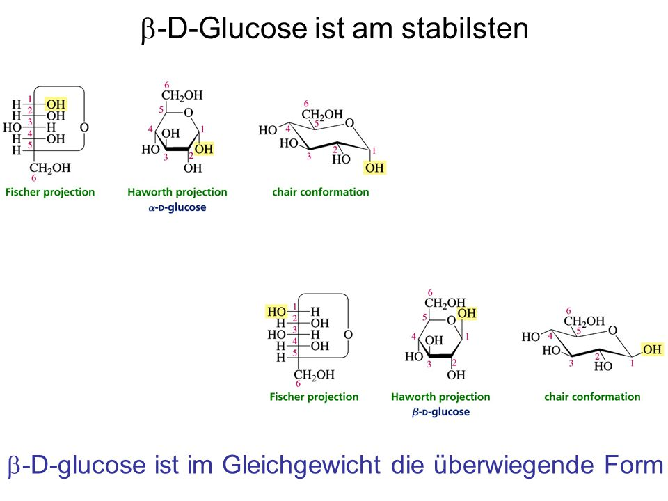 b-D-Glucose ist am stabilsten