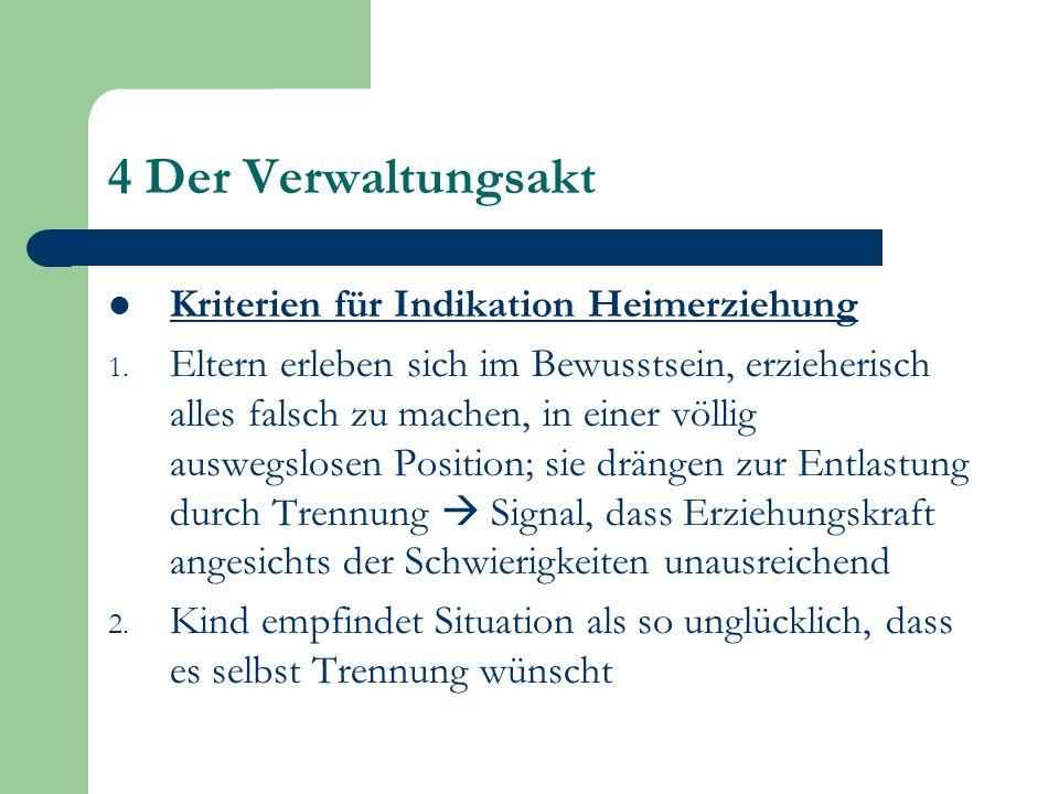 4 Der Verwaltungsakt Kriterien für Indikation Heimerziehung