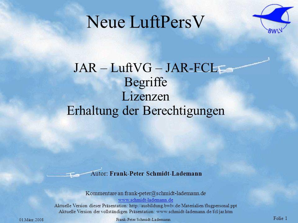 JAR – LuftVG – JAR-FCL Begriffe Lizenzen Erhaltung der Berechtigungen
