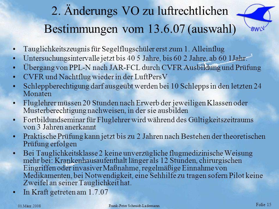 2. Änderungs VO zu luftrechtlichen Bestimmungen vom 13.6.07 (auswahl)