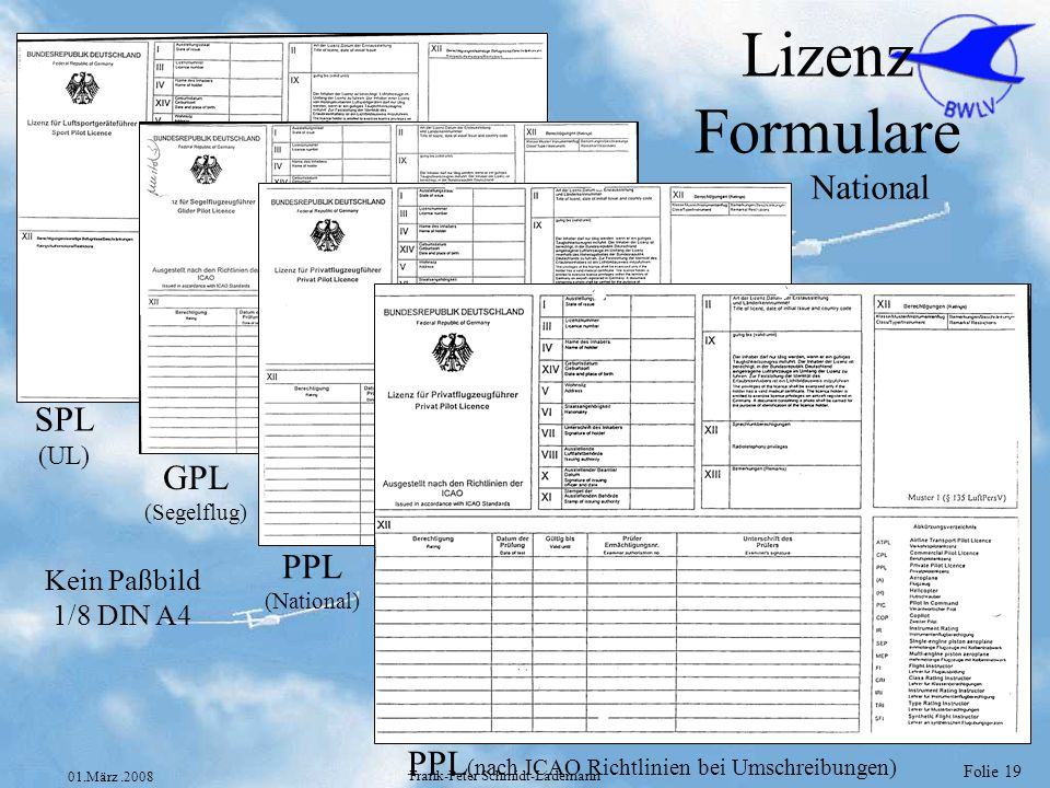 Lizenz Formulare National SPL GPL PPL