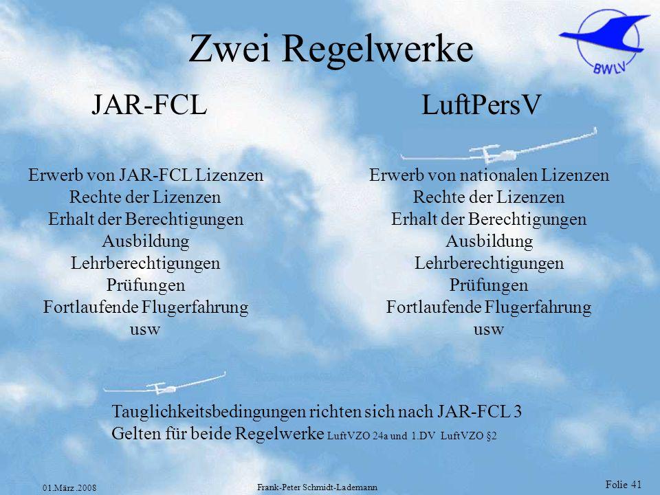 Zwei Regelwerke JAR-FCL LuftPersV Erwerb von JAR-FCL Lizenzen
