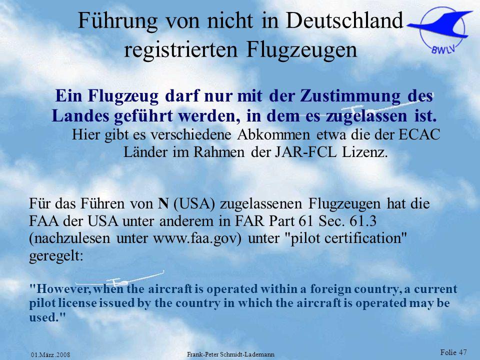 Führung von nicht in Deutschland registrierten Flugzeugen