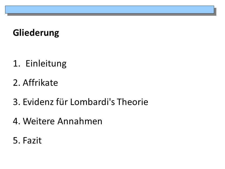 Gliederung Einleitung 2. Affrikate 3. Evidenz für Lombardi s Theorie 4. Weitere Annahmen 5. Fazit