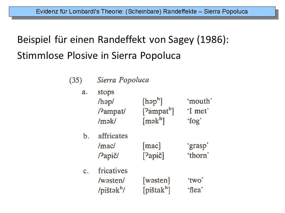 Beispiel für einen Randeffekt von Sagey (1986): Stimmlose Plosive in Sierra Popoluca
