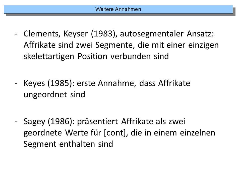 Clements, Keyser (1983), autosegmentaler Ansatz: Affrikate sind zwei Segmente, die mit einer einzigen skelettartigen Position verbunden sind