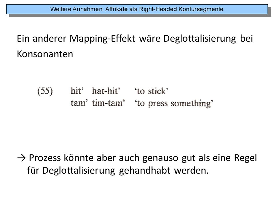 Ein anderer Mapping-Effekt wäre Deglottalisierung bei Konsonanten → Prozess könnte aber auch genauso gut als eine Regel für Deglottalisierung gehandhabt werden.