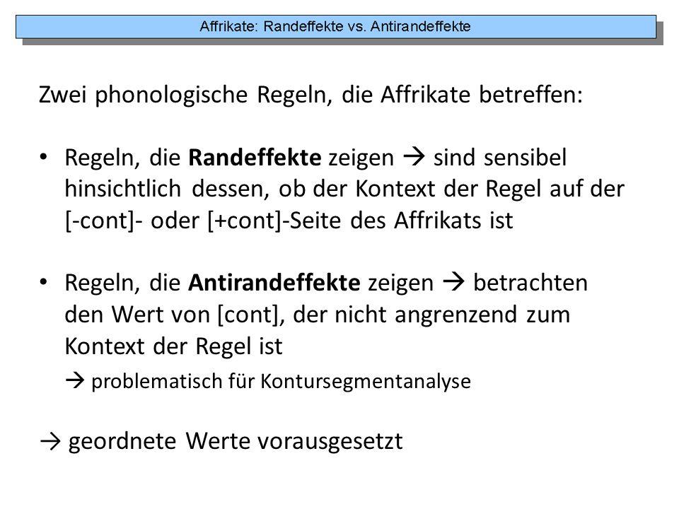 Zwei phonologische Regeln, die Affrikate betreffen: