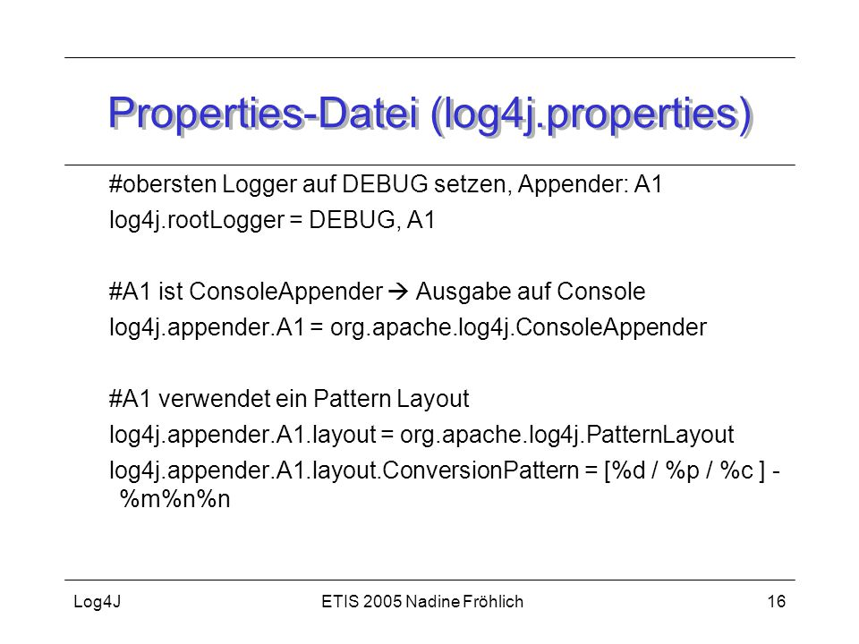 Properties-Datei (log4j.properties)