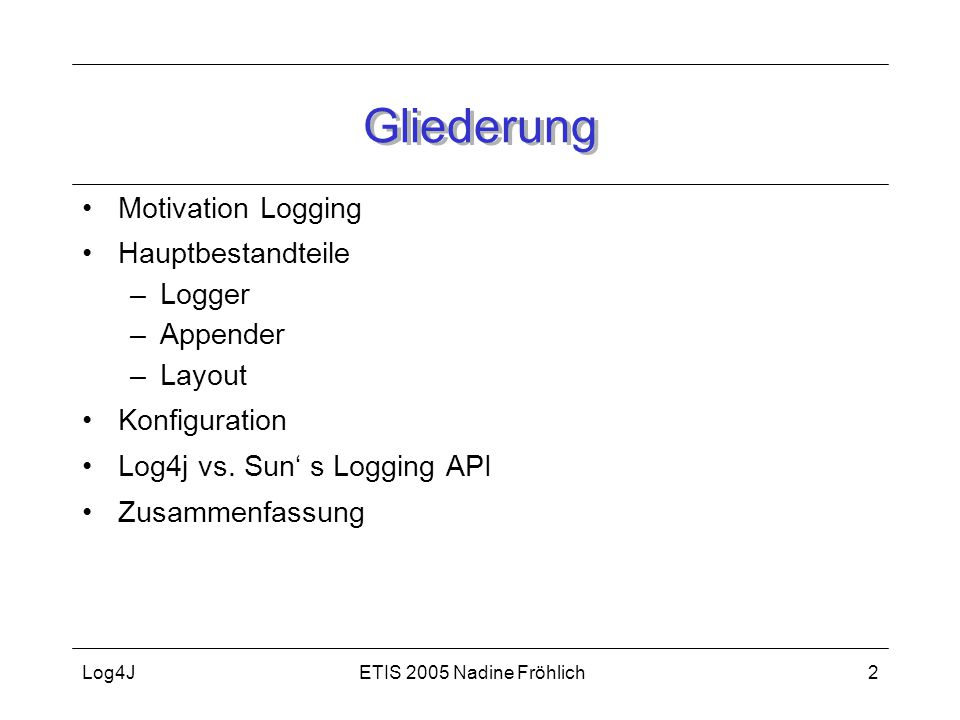 Gliederung Motivation Logging Hauptbestandteile Logger Appender Layout