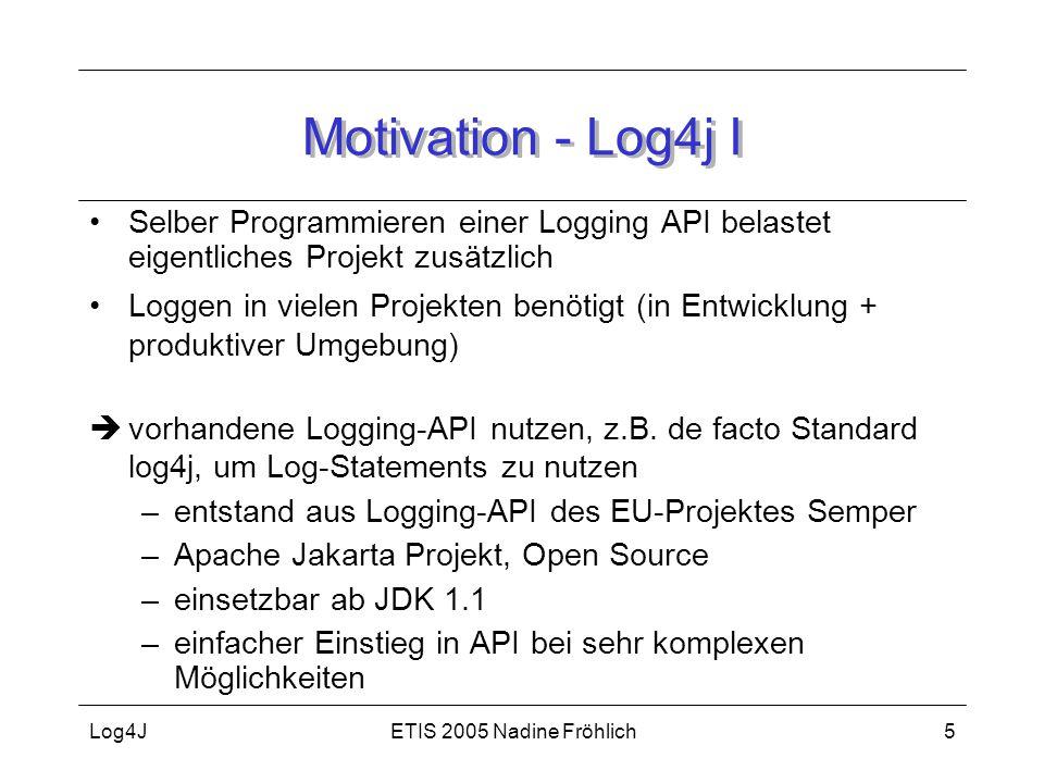 Motivation - Log4j I Selber Programmieren einer Logging API belastet eigentliches Projekt zusätzlich.